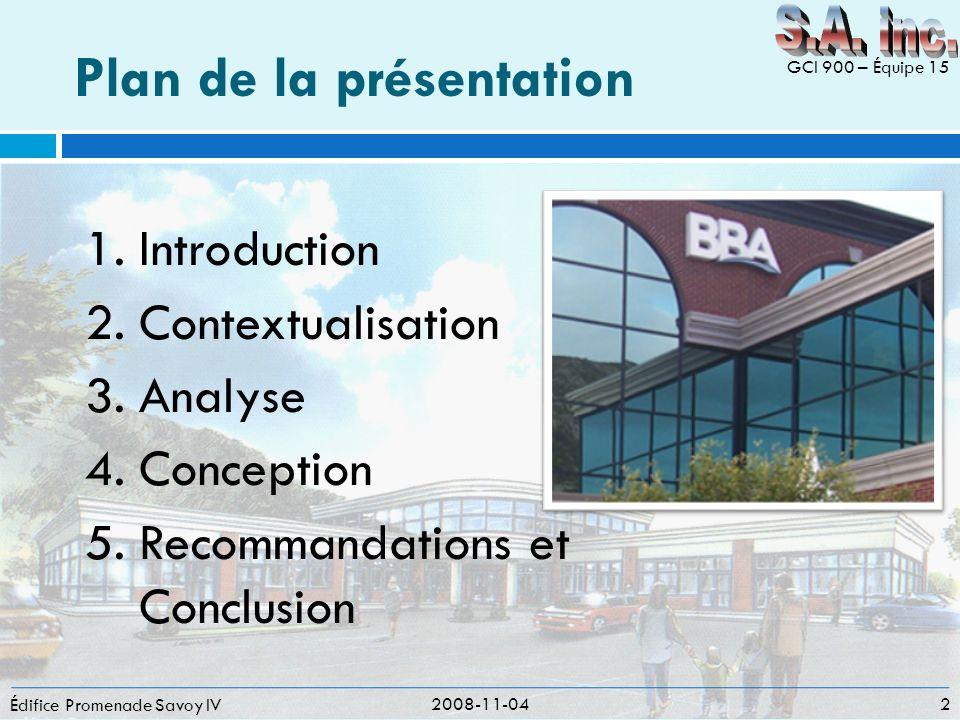 Plan de la présentation Édifice Promenade Savoy IV 1.Introduction 2.Contextualisation 3.Analyse 4.Conception 5.Recommandations et Conclusion 2008-11-0