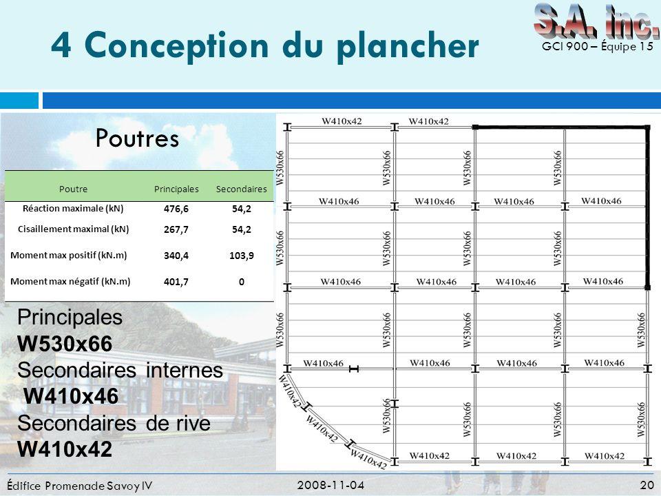 4 Conception du plancher Édifice Promenade Savoy IV 2008-11-04 20 GCI 900 – Équipe 15 PoutrePrincipalesSecondaires Réaction maximale (kN) 476,654,2 Ci