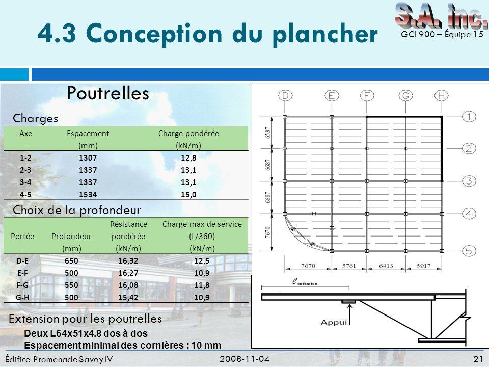 4.3 Conception du plancher Édifice Promenade Savoy IV 2008-11-04 21 GCI 900 – Équipe 15 Poutrelles Portée Profondeur Résistance pondérée Charge max de