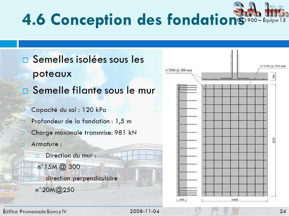 4.6 Conception des fondations Semelles isolées sous les poteaux Semelle filante sous le mur Édifice Promenade Savoy IV 2008-11-04 24 GCI 900 – Équipe