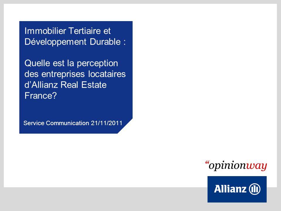 Immobilier Tertiaire et Développement Durable : Quelle est la perception des entreprises locataires dAllianz Real Estate France? Service Communication