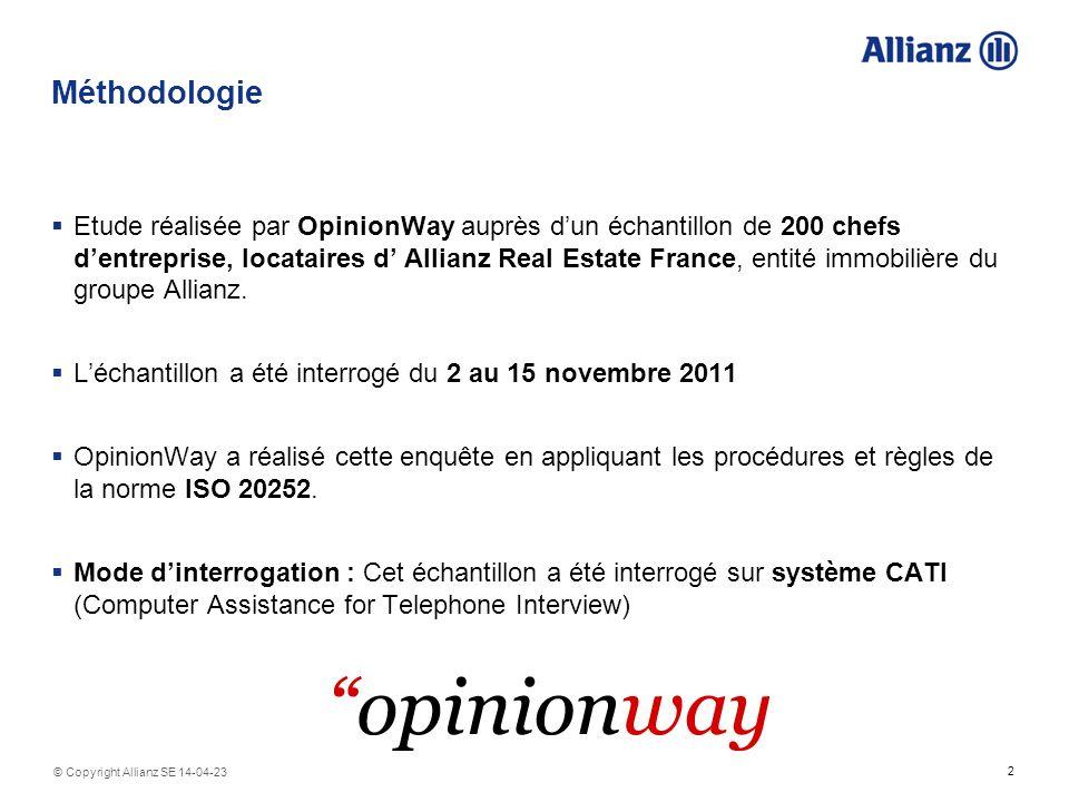 2 © Copyright Allianz SE 14-04-23 Méthodologie Etude réalisée par OpinionWay auprès dun échantillon de 200 chefs dentreprise, locataires d Allianz Real Estate France, entité immobilière du groupe Allianz.
