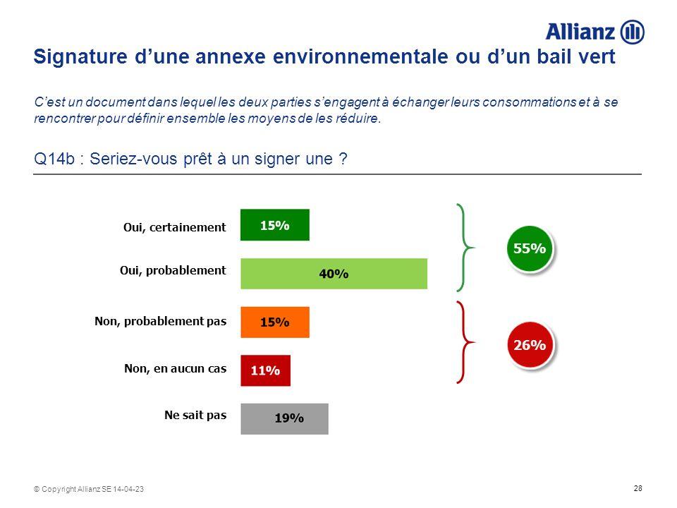 28 © Copyright Allianz SE 14-04-23 Signature dune annexe environnementale ou dun bail vert Cest un document dans lequel les deux parties sengagent à é
