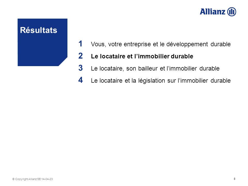 8 © Copyright Allianz SE 14-04-23 Résultats 1 Vous, votre entreprise et le développement durable 2 Le locataire et limmobilier durable 3 Le locataire, son bailleur et limmobilier durable 4 Le locataire et la législation sur limmobilier durable