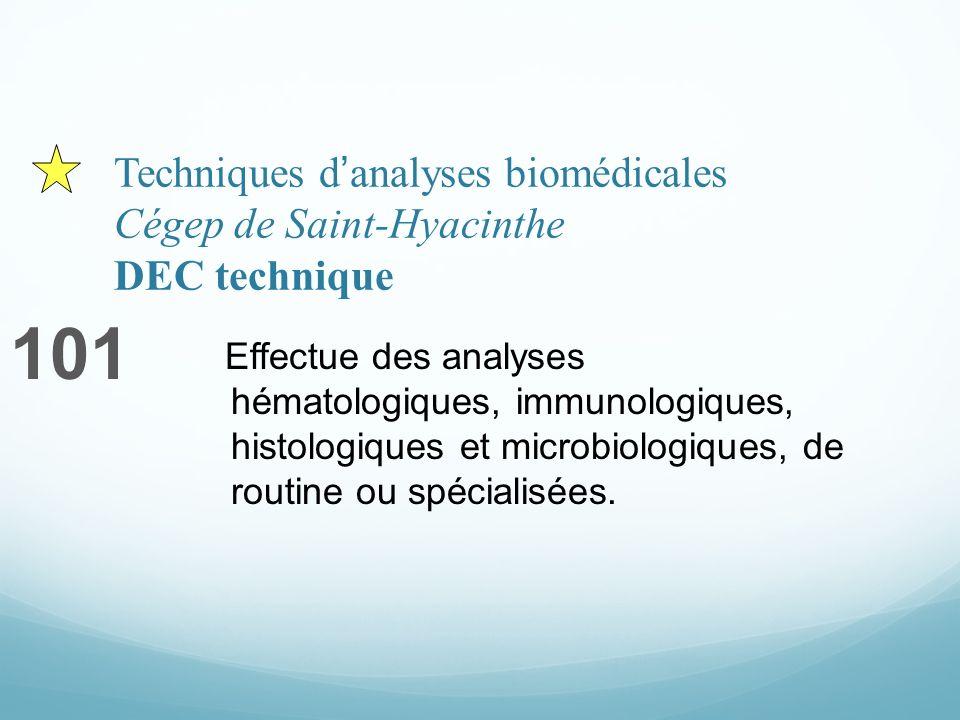 Techniques danalyses biomédicales Cégep de Saint-Hyacinthe DEC technique 101 Effectue des analyses hématologiques, immunologiques, histologiques et microbiologiques, de routine ou spécialisées.