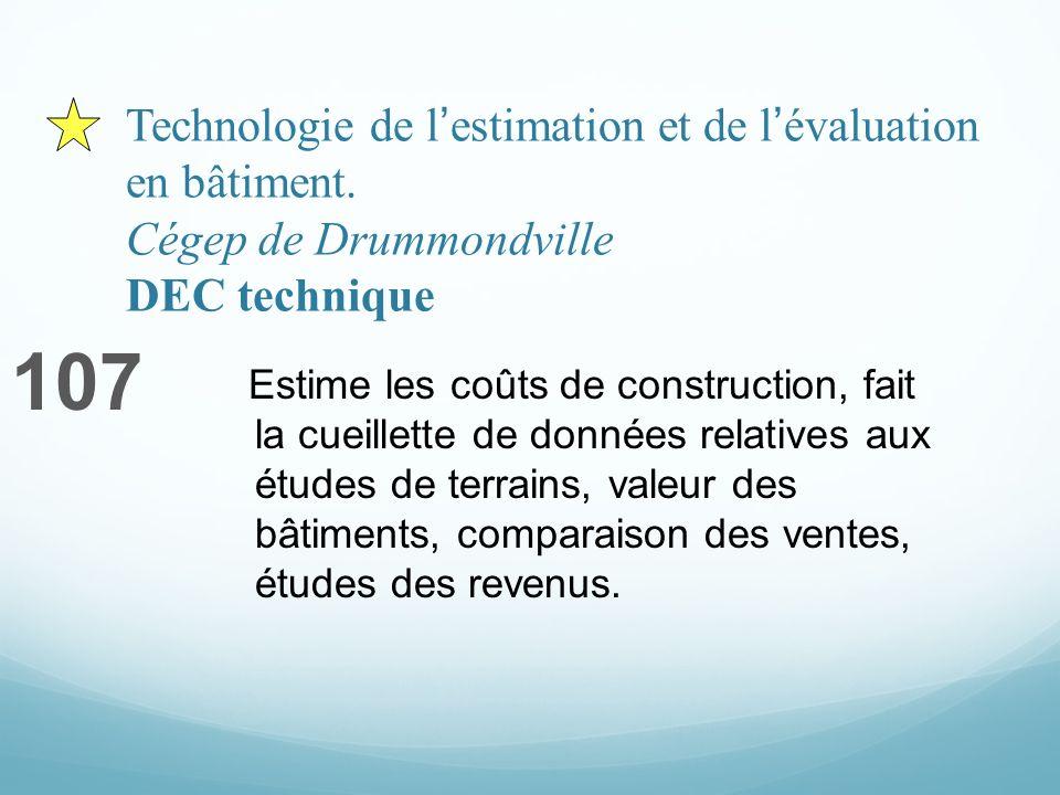 Technologie de lestimation et de lévaluation en bâtiment. Cégep de Drummondville DEC technique 107 Estime les coûts de construction, fait la cueillett