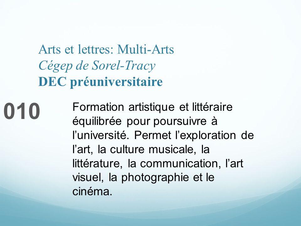 Arts et lettres: Multi-Arts Cégep de Sorel-Tracy DEC préuniversitaire 010 Formation artistique et littéraire équilibrée pour poursuivre à luniversité.