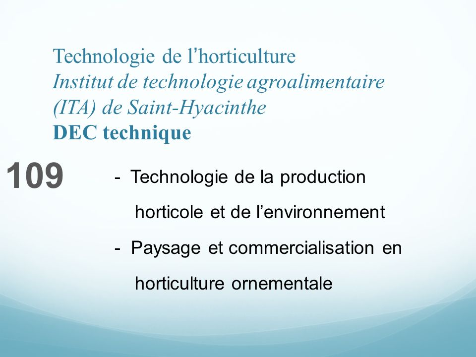 Technologie de lhorticulture Institut de technologie agroalimentaire (ITA) de Saint-Hyacinthe DEC technique 109 - Technologie de la production horticole et de lenvironnement - Paysage et commercialisation en horticulture ornementale
