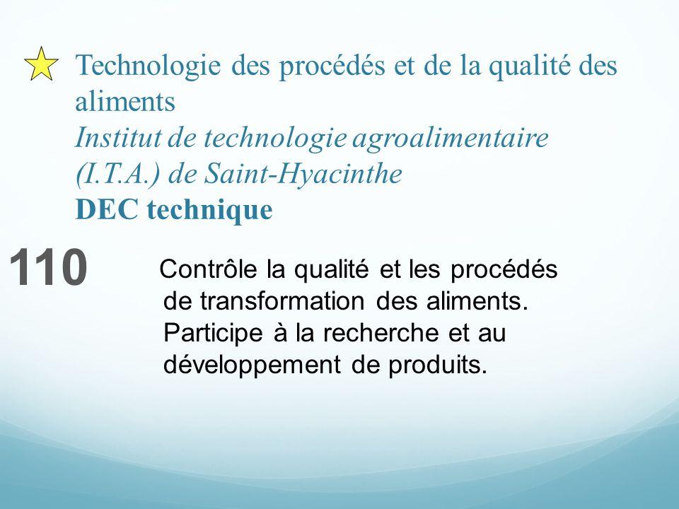 Technologie des procédés et de la qualité des aliments Institut de technologie agroalimentaire (I.T.A.) de Saint-Hyacinthe DEC technique 110 Contrôle la qualité et les procédés de transformation des aliments.