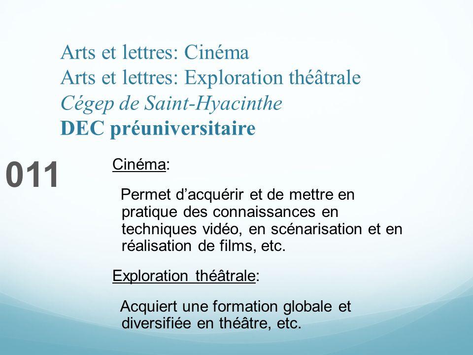 Arts et lettres: Cinéma Arts et lettres: Exploration théâtrale Cégep de Saint-Hyacinthe DEC préuniversitaire 011 Cinéma: Permet dacquérir et de mettre