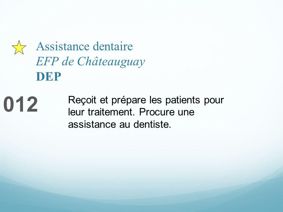Assistance dentaire EFP de Châteauguay DEP 012 Reçoit et prépare les patients pour leur traitement. Procure une assistance au dentiste.
