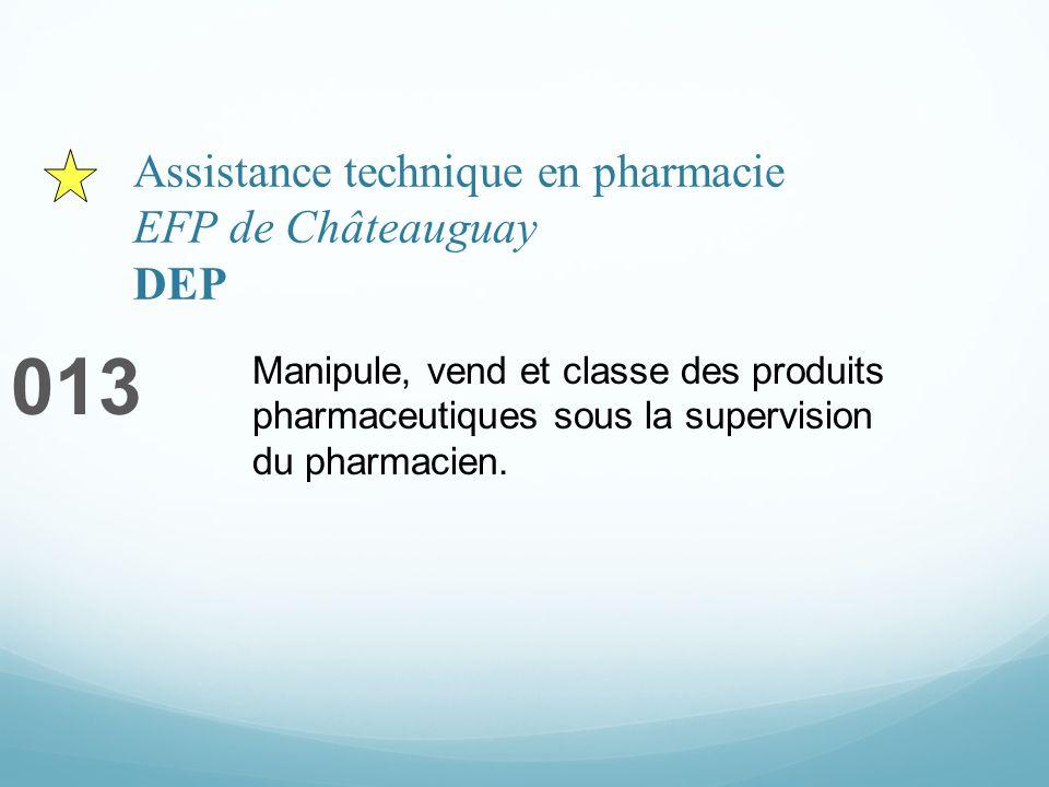 Assistance technique en pharmacie EFP de Châteauguay DEP 013 Manipule, vend et classe des produits pharmaceutiques sous la supervision du pharmacien.