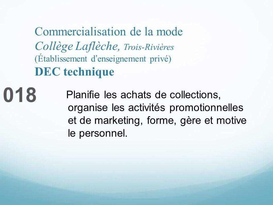 Commercialisation de la mode Collège Laflèche, Trois-Rivières (Établissement denseignement privé) DEC technique 018 Planifie les achats de collections