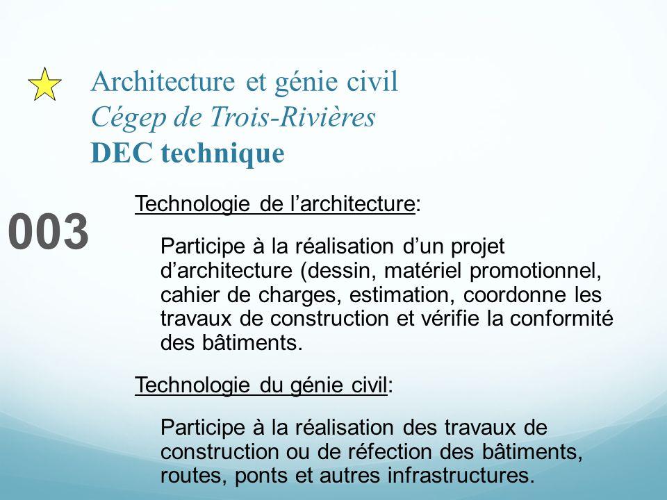 Architecture et génie civil Cégep de Trois-Rivières DEC technique 003 Technologie de larchitecture: Participe à la réalisation dun projet darchitectur