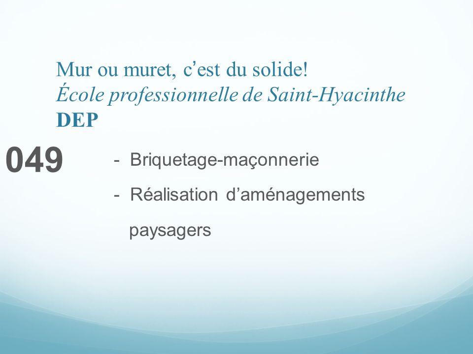 Mur ou muret, cest du solide! École professionnelle de Saint-Hyacinthe DEP 049 - Briquetage-maçonnerie - Réalisation daménagements paysagers