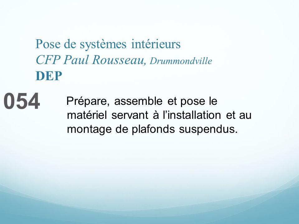 Pose de systèmes intérieurs CFP Paul Rousseau, Drummondville DEP 054 Prépare, assemble et pose le matériel servant à linstallation et au montage de plafonds suspendus.