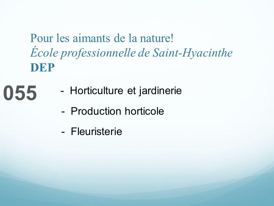 Pour les aimants de la nature! École professionnelle de Saint-Hyacinthe DEP 055 - Horticulture et jardinerie - Production horticole - Fleuristerie