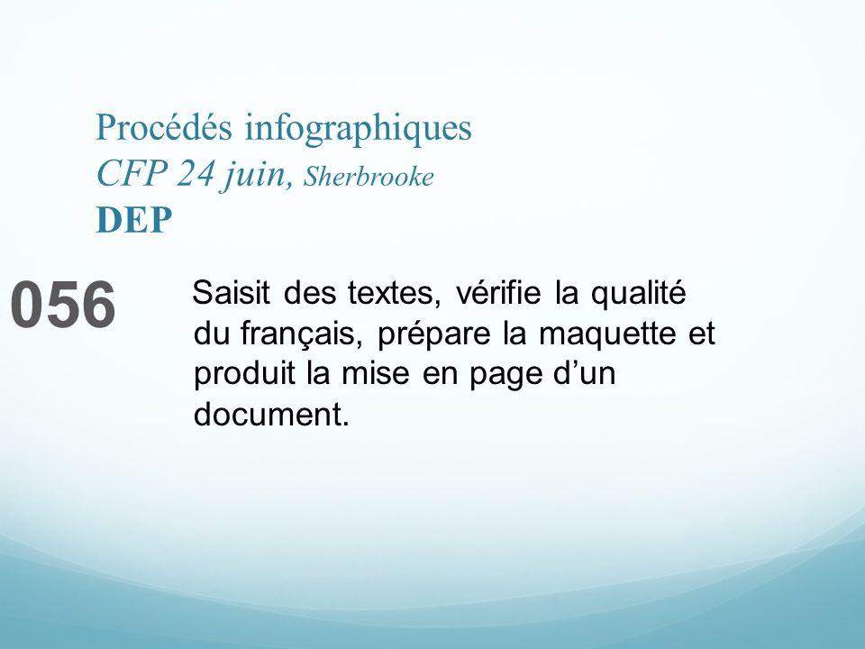 Procédés infographiques CFP 24 juin, Sherbrooke DEP 056 Saisit des textes, vérifie la qualité du français, prépare la maquette et produit la mise en page dun document.