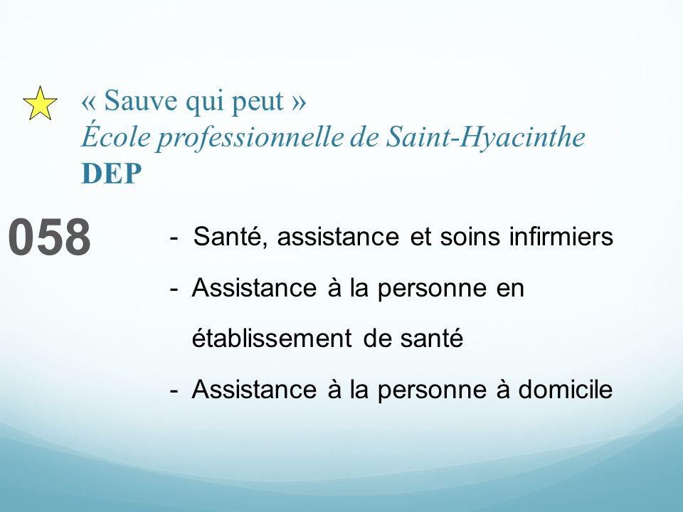 « Sauve qui peut » École professionnelle de Saint-Hyacinthe DEP 058 - Santé, assistance et soins infirmiers - Assistance à la personne en établissement de santé - Assistance à la personne à domicile