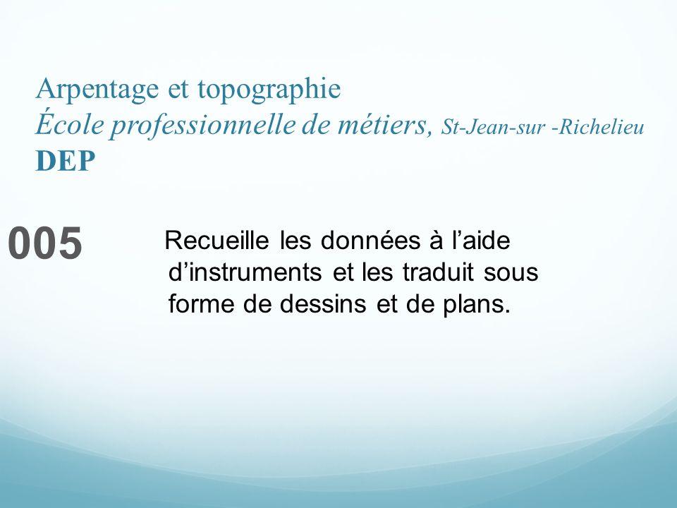 Arpentage et topographie École professionnelle de métiers, St-Jean-sur -Richelieu DEP 005 Recueille les données à laide dinstruments et les traduit sous forme de dessins et de plans.
