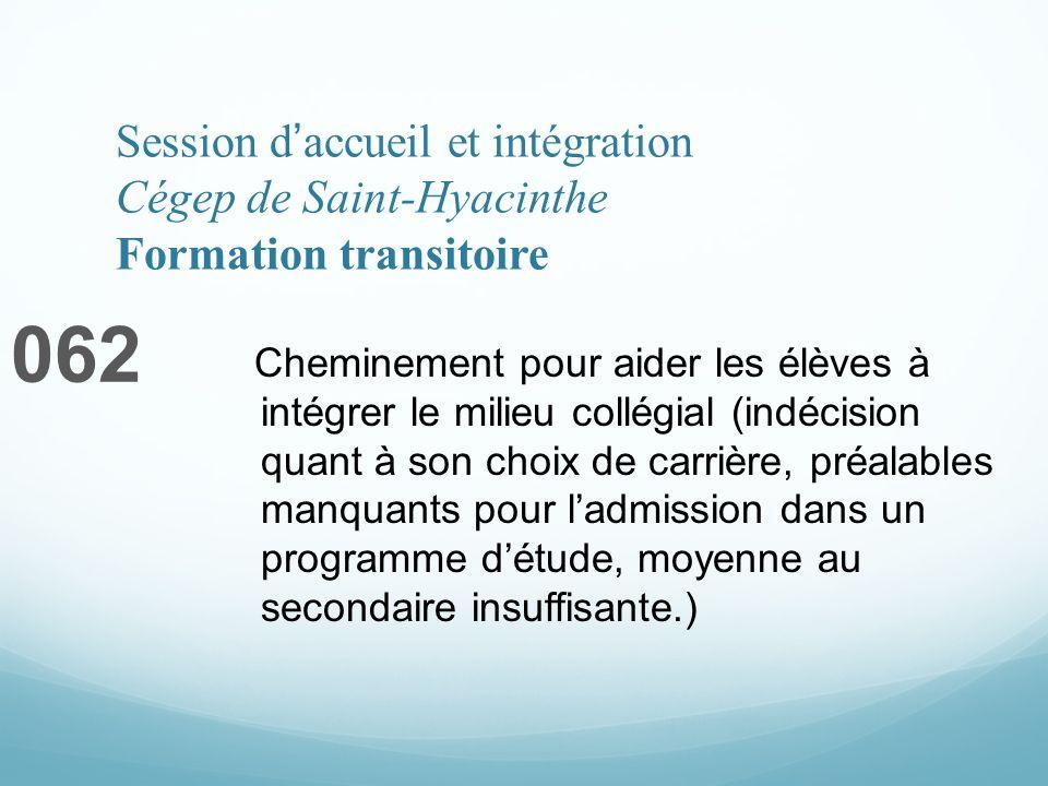Session daccueil et intégration Cégep de Saint-Hyacinthe Formation transitoire 062 Cheminement pour aider les élèves à intégrer le milieu collégial (i