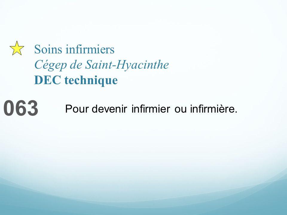 Soins infirmiers Cégep de Saint-Hyacinthe DEC technique 063 Pour devenir infirmier ou infirmière.