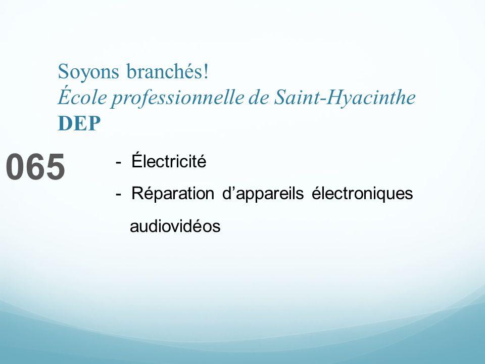 Soyons branchés! École professionnelle de Saint-Hyacinthe DEP 065 - Électricité - Réparation dappareils électroniques audiovidéos