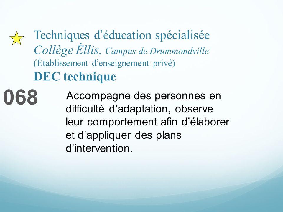 Techniques déducation spécialisée Collège Éllis, Campus de Drummondville (Établissement denseignement privé) DEC technique 068 Accompagne des personne