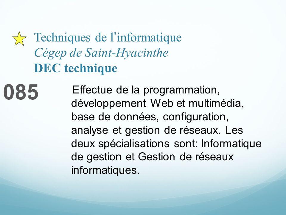 Techniques de linformatique Cégep de Saint-Hyacinthe DEC technique 085 Effectue de la programmation, développement Web et multimédia, base de données, configuration, analyse et gestion de réseaux.