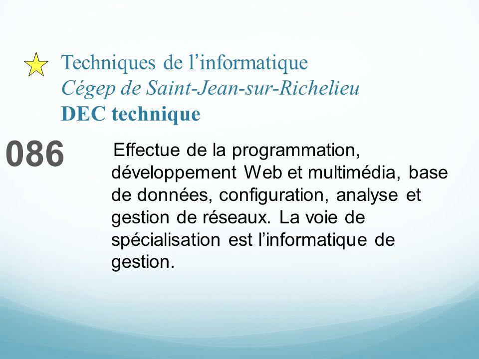 Techniques de linformatique Cégep de Saint-Jean-sur-Richelieu DEC technique 086 Effectue de la programmation, développement Web et multimédia, base de données, configuration, analyse et gestion de réseaux.