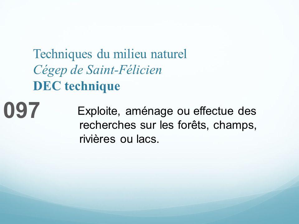 Techniques du milieu naturel Cégep de Saint-Félicien DEC technique 097 Exploite, aménage ou effectue des recherches sur les forêts, champs, rivières ou lacs.