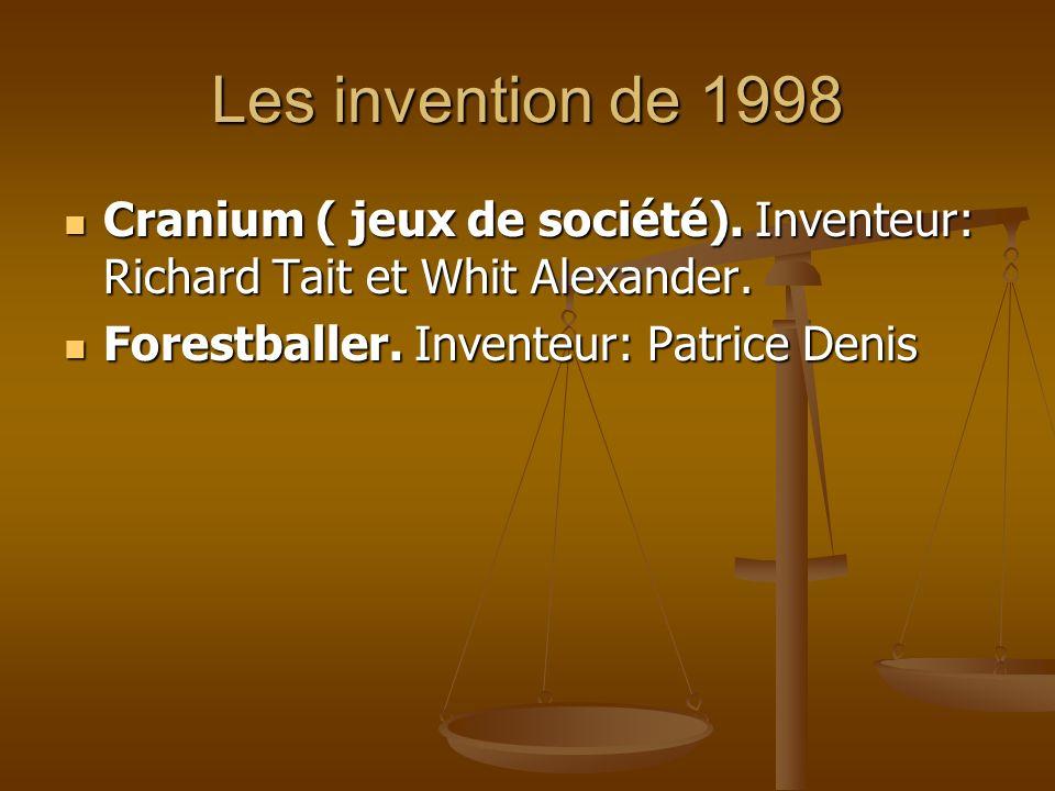 Les invention de 1998 Cranium ( jeux de société). Inventeur: Richard Tait et Whit Alexander. Cranium ( jeux de société). Inventeur: Richard Tait et Wh