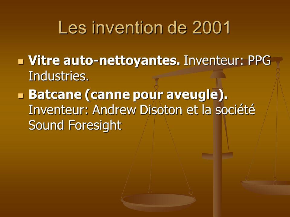 Les invention de 2001 Vitre auto-nettoyantes. Inventeur: PPG Industries. Vitre auto-nettoyantes. Inventeur: PPG Industries. Batcane (canne pour aveugl