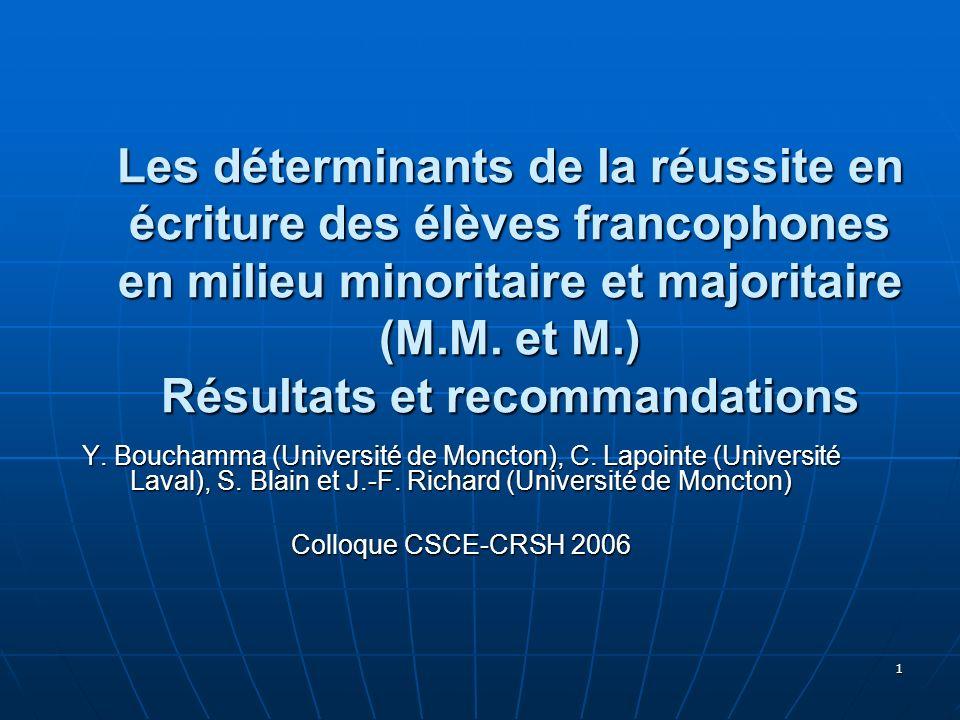 1 Les déterminants de la réussite en écriture des élèves francophones en milieu minoritaire et majoritaire (M.M. et M.) Résultats et recommandations Y