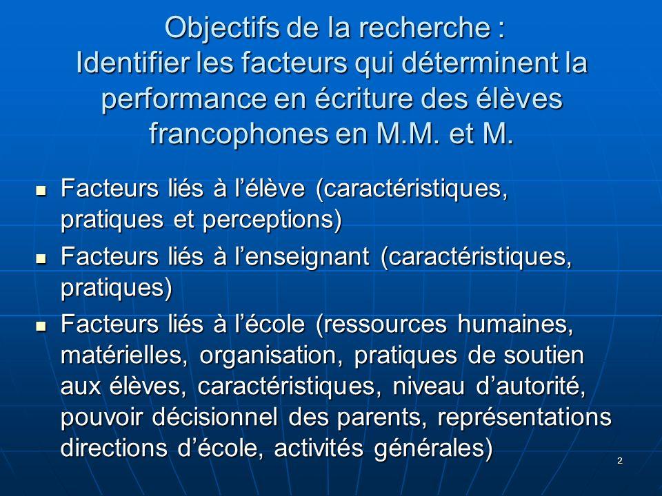 2 Objectifs de la recherche : Identifier les facteurs qui déterminent la performance en écriture des élèves francophones en M.M. et M. Objectifs de la