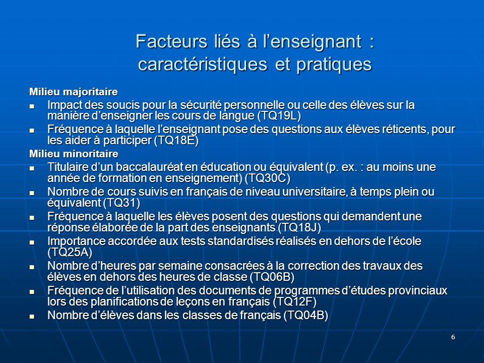 7 Facteurs liés à lécole : ressources humaines Nombre denseignants (y compris les spécialistes) équivalent temps plein (SCQ10D) Nombre denseignants (y compris les spécialistes) équivalent temps plein (SCQ10D) Nombre de non-professionnels (p.