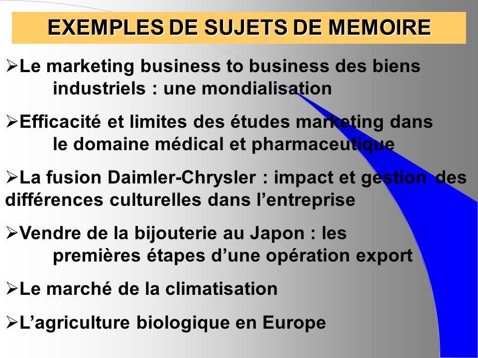 EXEMPLES DE SUJETS DE MEMOIRE Le marketing business to business des biens industriels : une mondialisation Efficacité et limites des études marketing