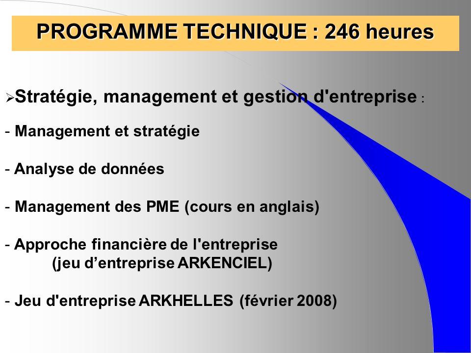 PROGRAMME TECHNIQUE : 246 heures Stratégie, management et gestion d'entreprise : - Management et stratégie - Analyse de données - Management des PME (