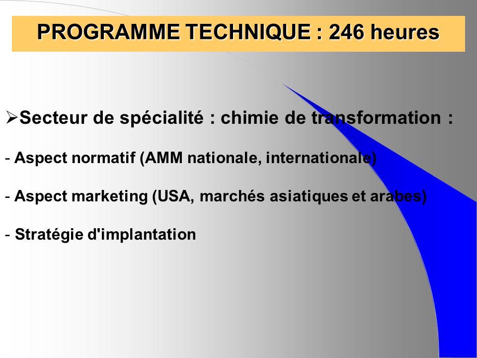 PROGRAMME TECHNIQUE : 246 heures Secteur de spécialité : chimie de transformation : - Aspect normatif (AMM nationale, internationale) - Aspect marketi