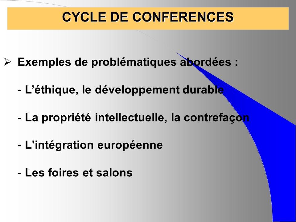 CYCLE DE CONFERENCES Exemples de problématiques abordées : - Léthique, le développement durable - La propriété intellectuelle, la contrefaçon - L'inté