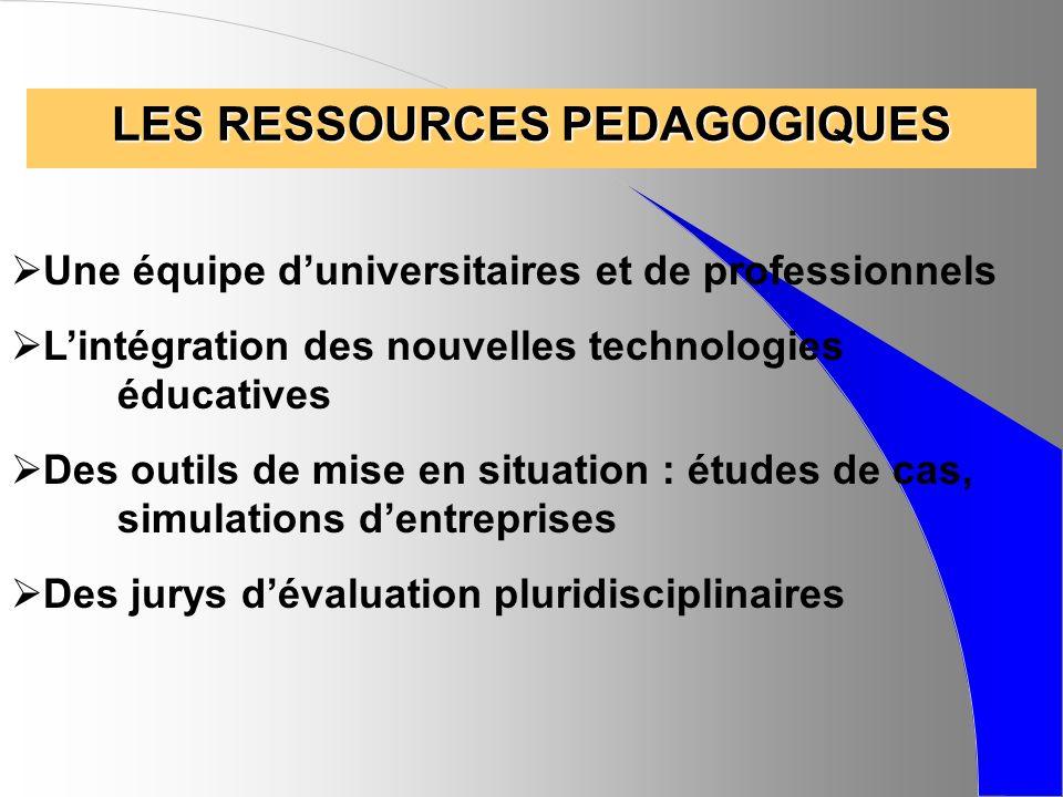 LES RESSOURCES PEDAGOGIQUES Une équipe duniversitaires et de professionnels Lintégration des nouvelles technologies éducatives Des outils de mise en s
