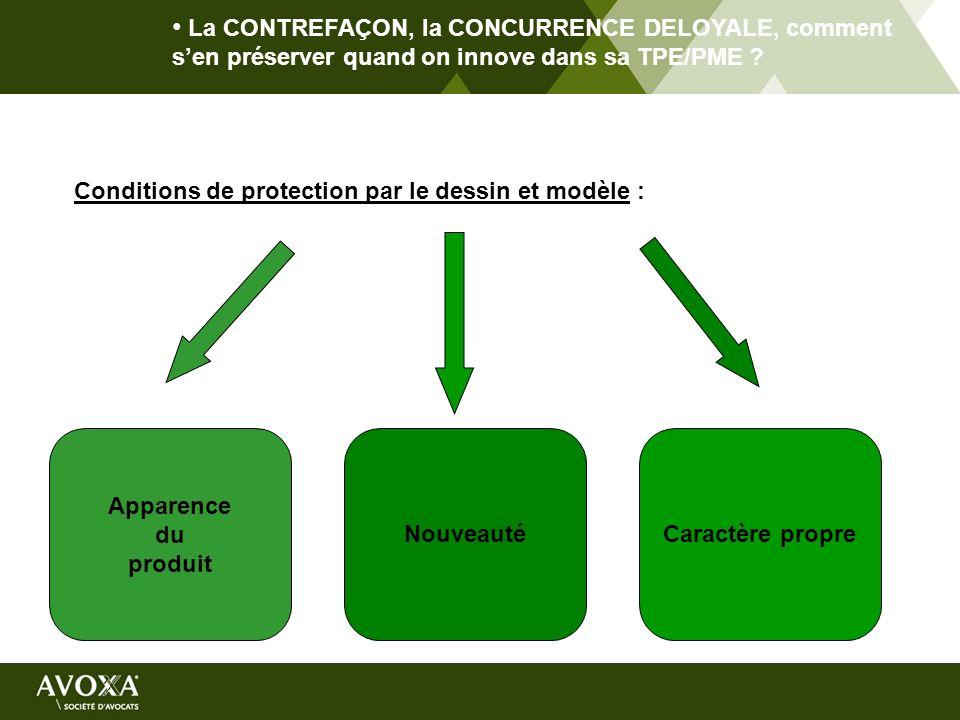 La CONTREFAÇON, la CONCURRENCE DELOYALE, comment sen préserver quand on innove dans sa TPE/PME ? Conditions de protection par le dessin et modèle : Ap