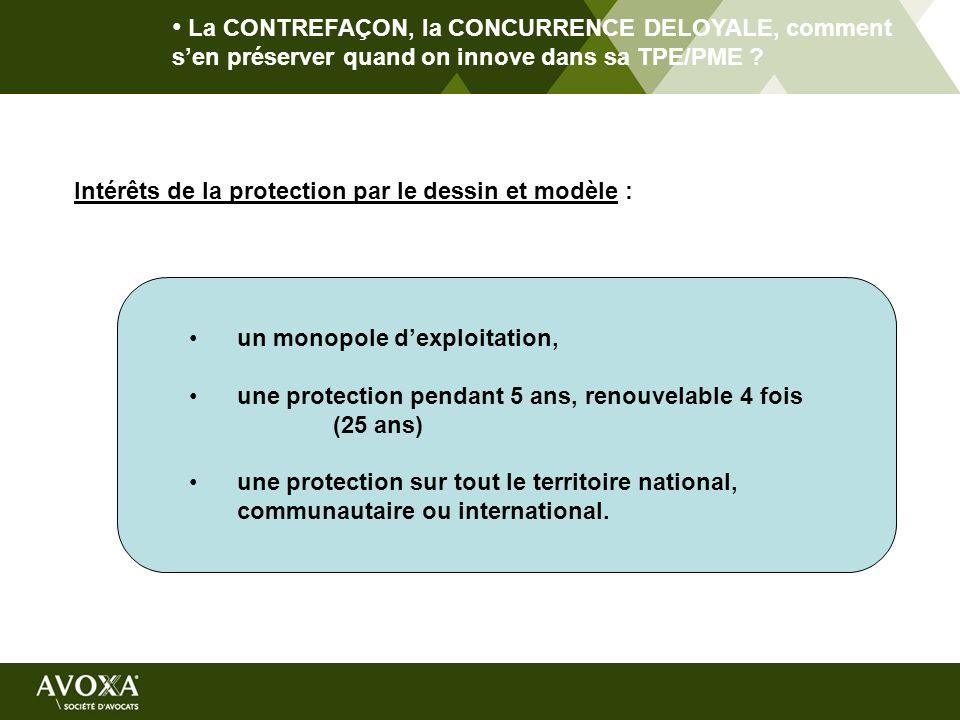 La CONTREFAÇON, la CONCURRENCE DELOYALE, comment sen préserver quand on innove dans sa TPE/PME ? Intérêts de la protection par le dessin et modèle : u