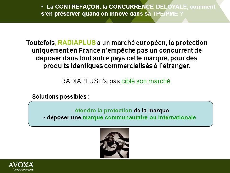 La CONTREFAÇON, la CONCURRENCE DELOYALE, comment sen préserver quand on innove dans sa TPE/PME ? Toutefois, RADIAPLUS a un marché européen, la protect