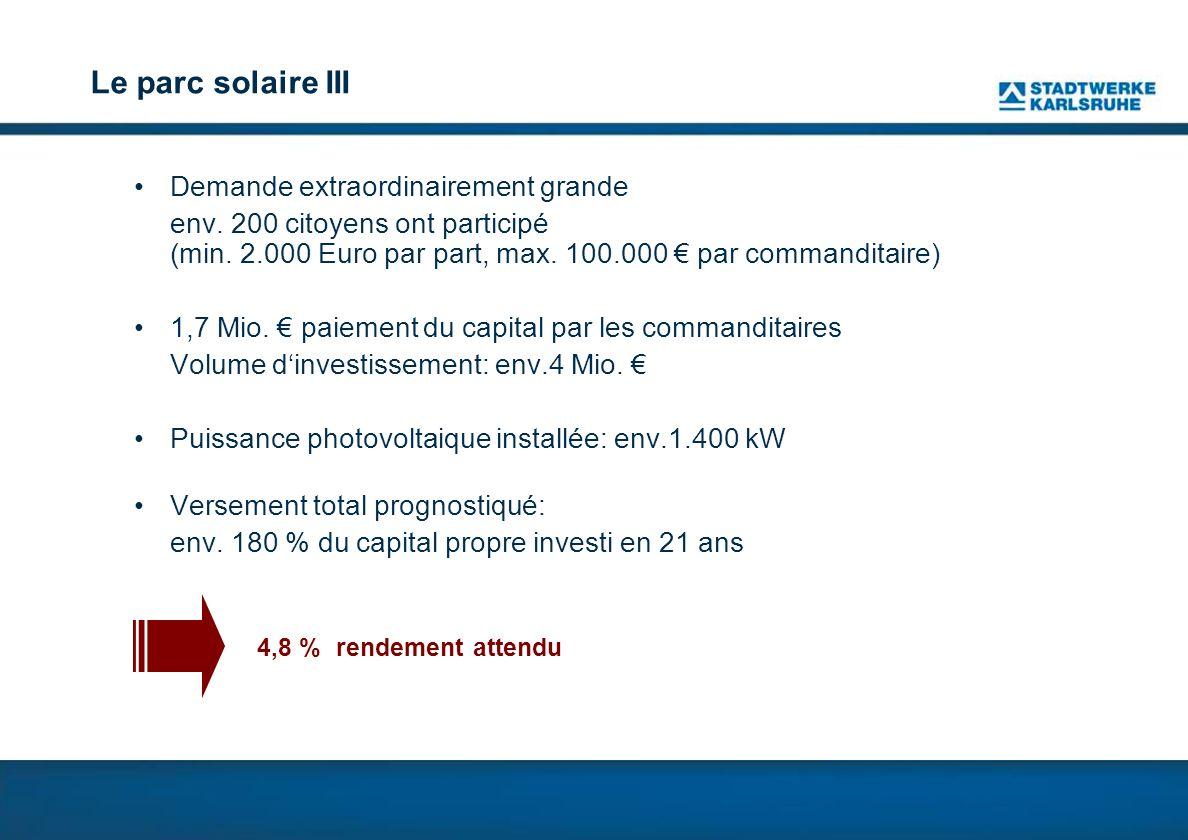 Le parc solaire III Demande extraordinairement grande env.