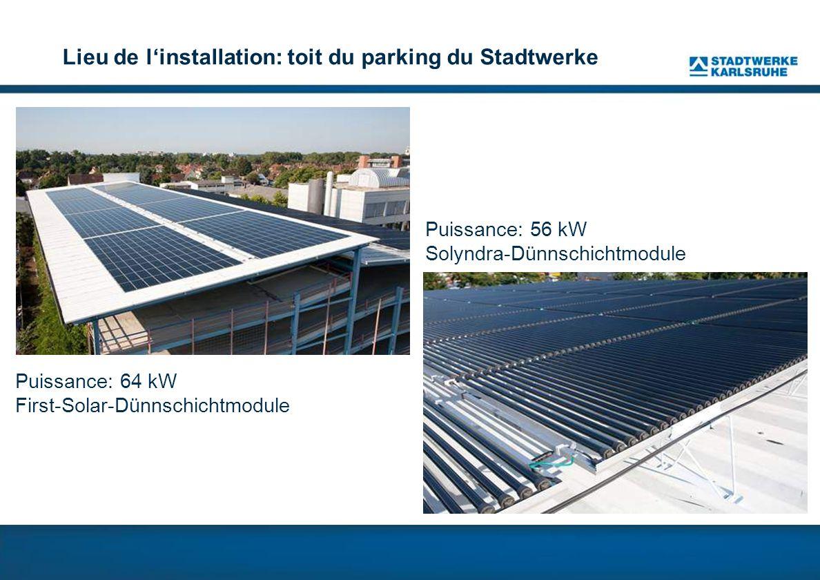 Lieu de linstallation: toit du parking du Stadtwerke Puissance: 64 kW First-Solar-Dünnschichtmodule Puissance: 56 kW Solyndra-Dünnschichtmodule