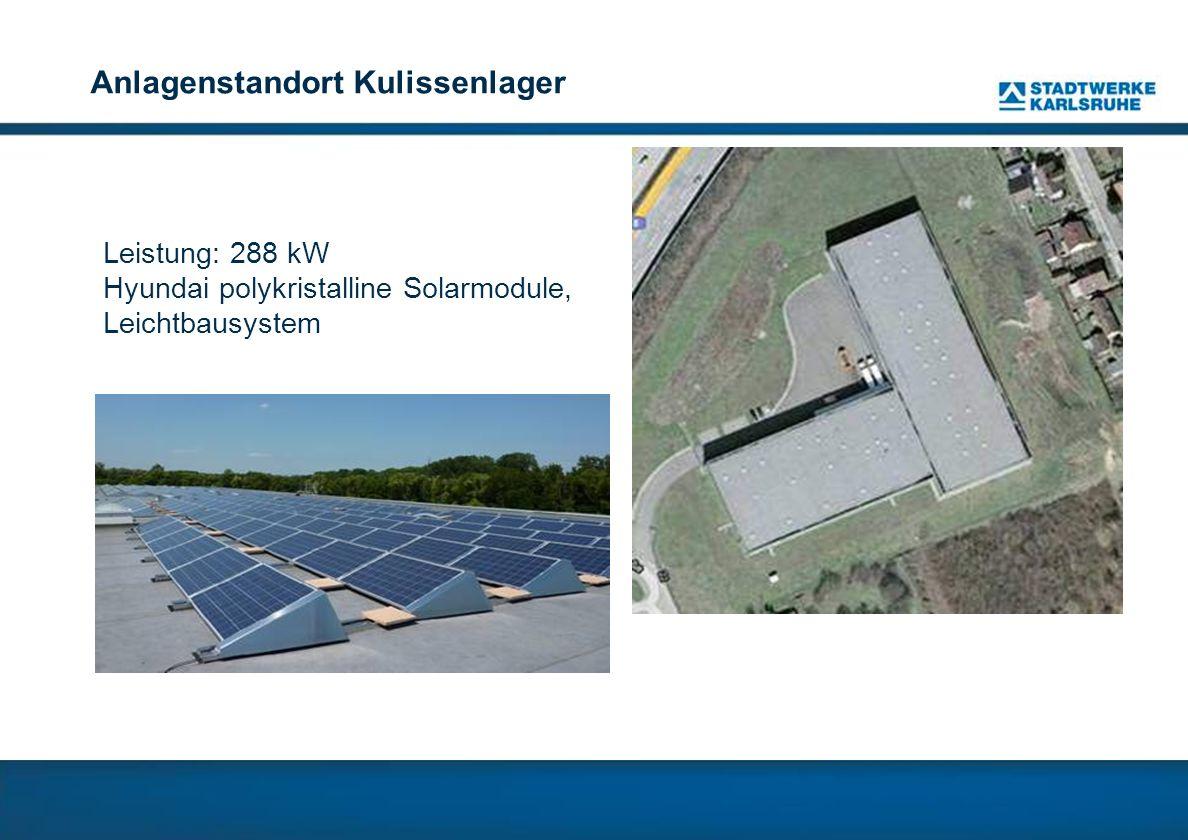 Anlagenstandort Kulissenlager Leistung: 288 kW Hyundai polykristalline Solarmodule, Leichtbausystem