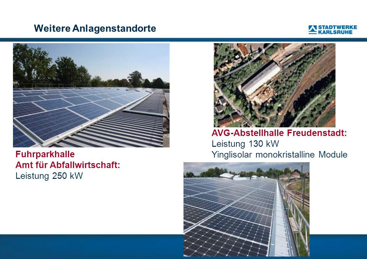 Weitere Anlagenstandorte AVG-Abstellhalle Freudenstadt: Leistung 130 kW Yinglisolar monokristalline Module Fuhrparkhalle Amt für Abfallwirtschaft: Leistung 250 kW