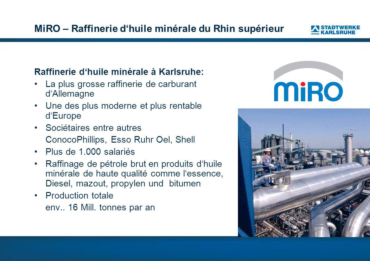 MiRO – Raffinerie dhuile minérale du Rhin supérieur Raffinerie dhuile minérale à Karlsruhe: La plus grosse raffinerie de carburant dAllemagne Une des plus moderne et plus rentable dEurope Sociétaires entre autres ConocoPhillips, Esso Ruhr Oel, Shell Plus de 1.000 salariés Raffinage de pétrole brut en produits dhuile minérale de haute qualité comme lessence, Diesel, mazout, propylen und bitumen Production totale env..
