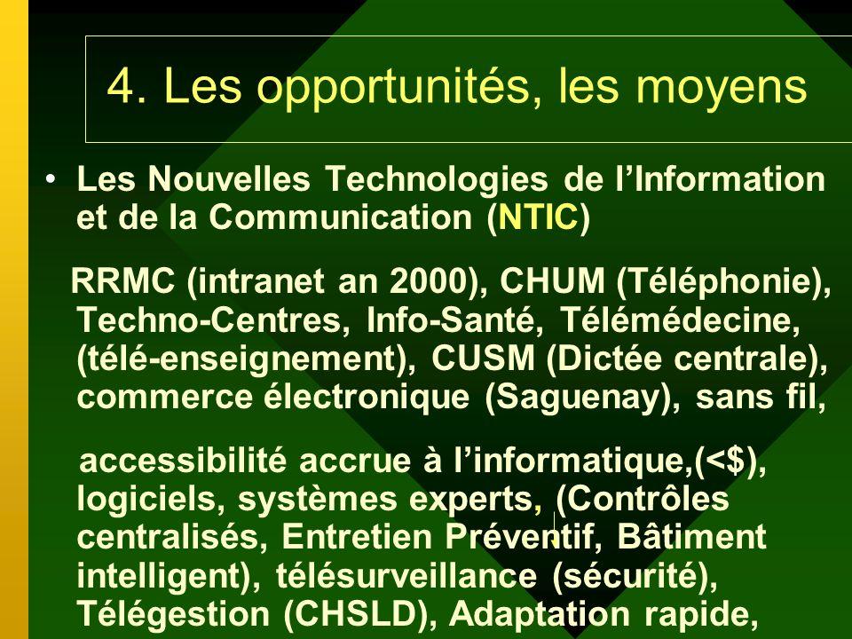 4. Les opportunités, les moyens Les Nouvelles Technologies de lInformation et de la Communication (NTIC) RRMC (intranet an 2000), CHUM (Téléphonie), T